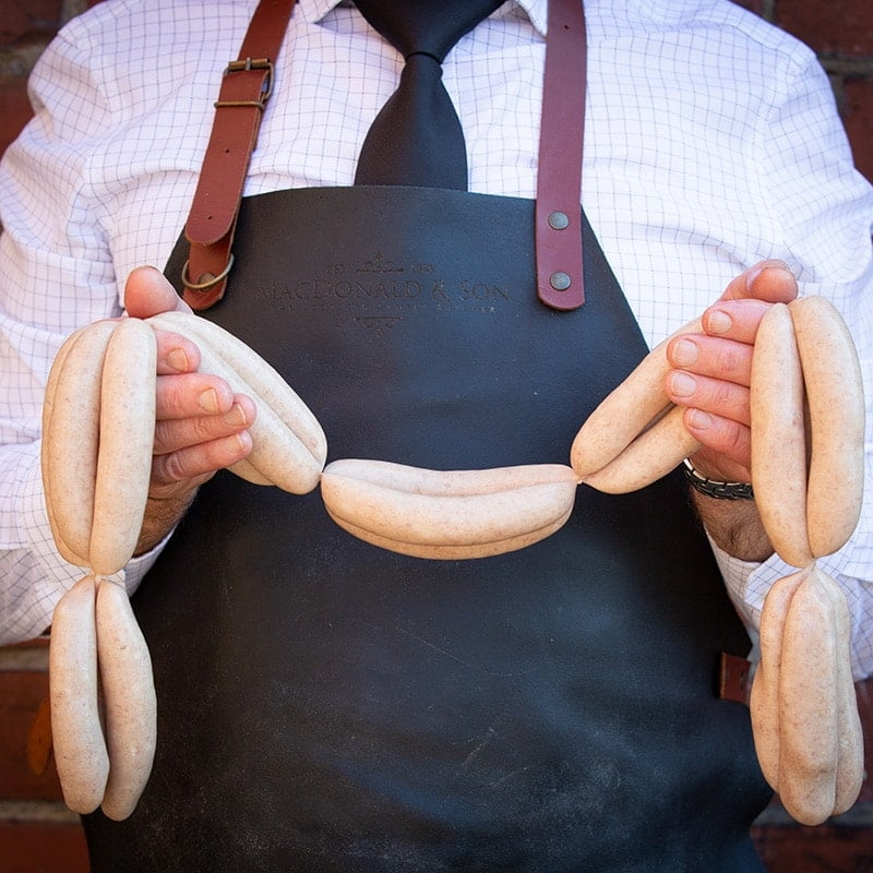 Pork Sausages available to buy at Macdonald & Sons Butchers in Dundee, Scotland