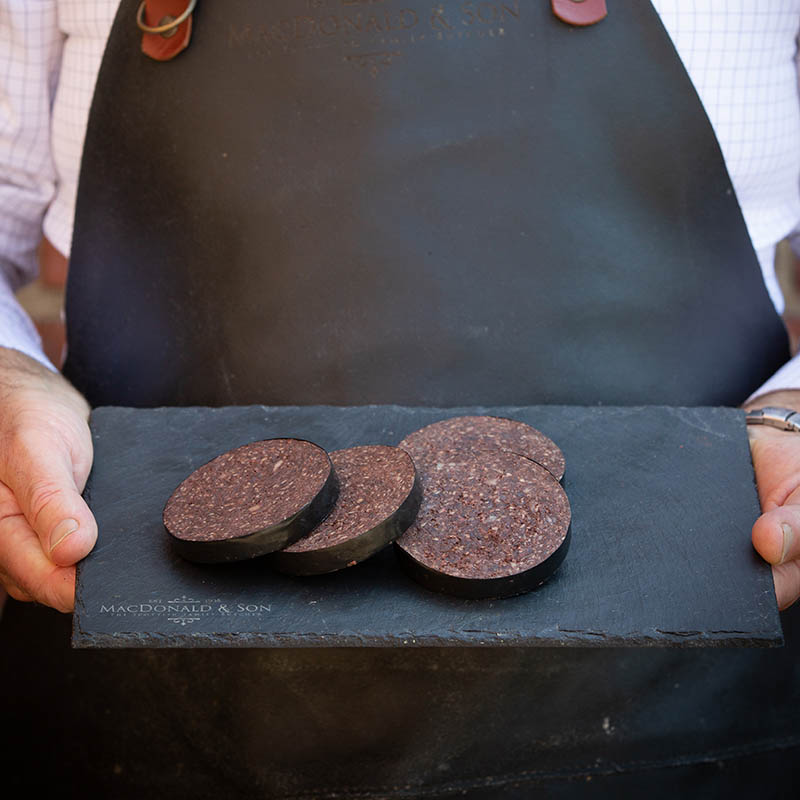 Black Pudding available to buy at Macdonald & Sons Butchers in Dundee, Scotland