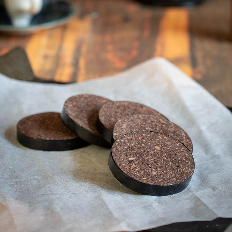 Scottish Black Pudding available to buy at Macdonald & Sons Butchers in Dundee, Scotland