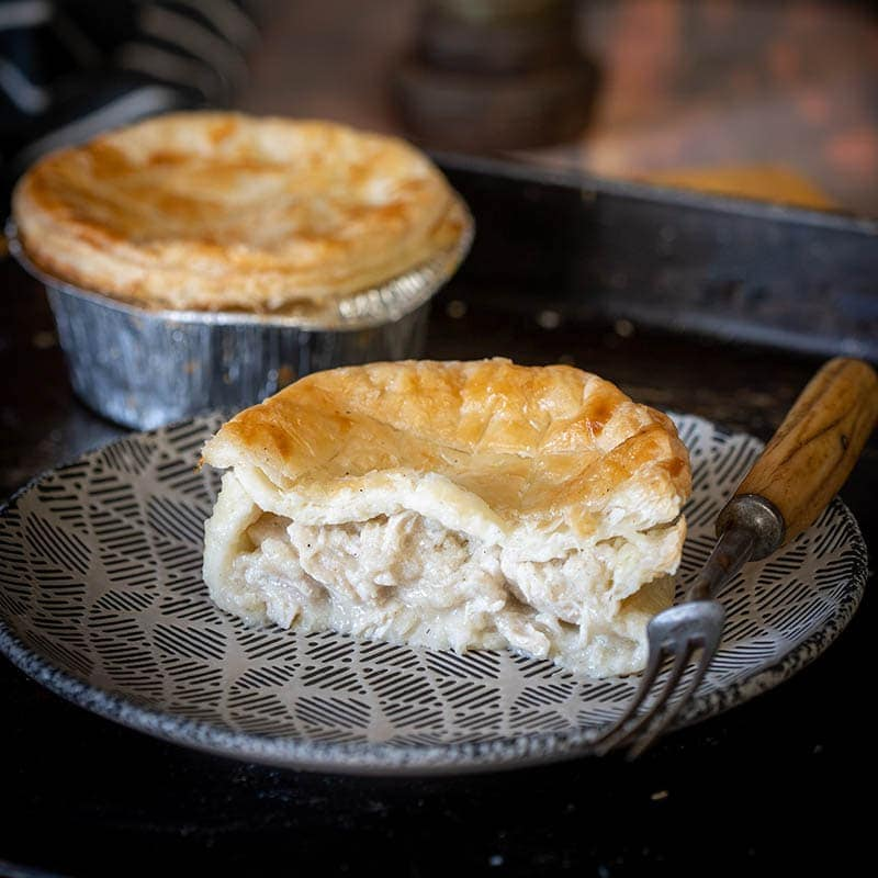 Chicken pies available to buy at Macdonald & Sons Butchers in Dundee, Scotland