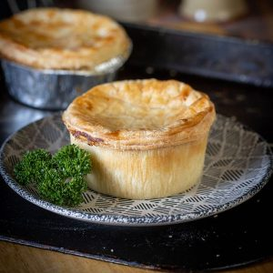 Free range chicken pie available to buy at Macdonald & Sons Butchers in Dundee, Scotland