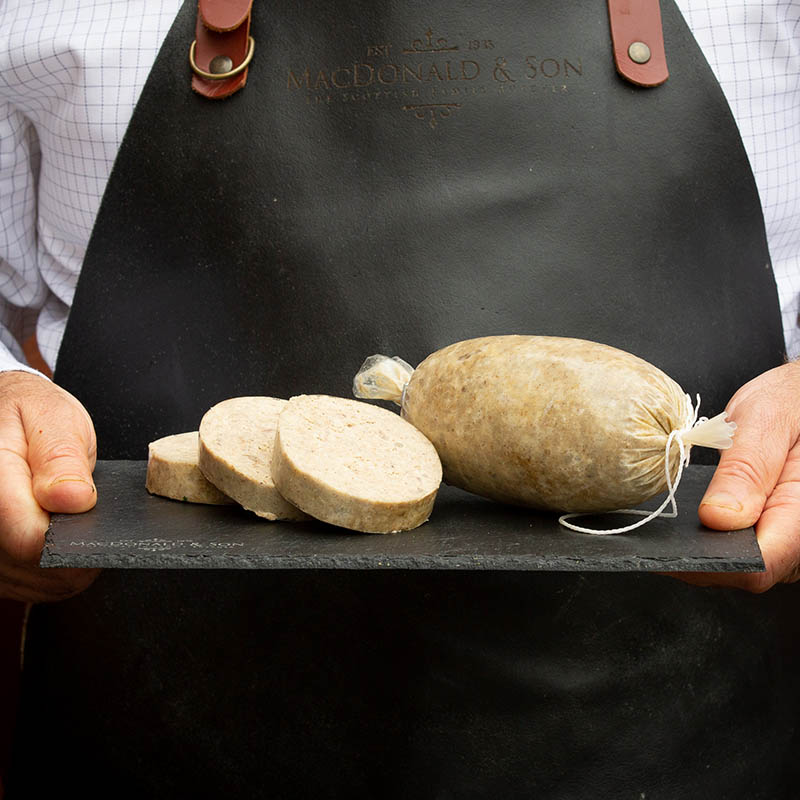 Scottish Haggis available to buy at Macdonald & Sons Butchers in Dundee, Scotland